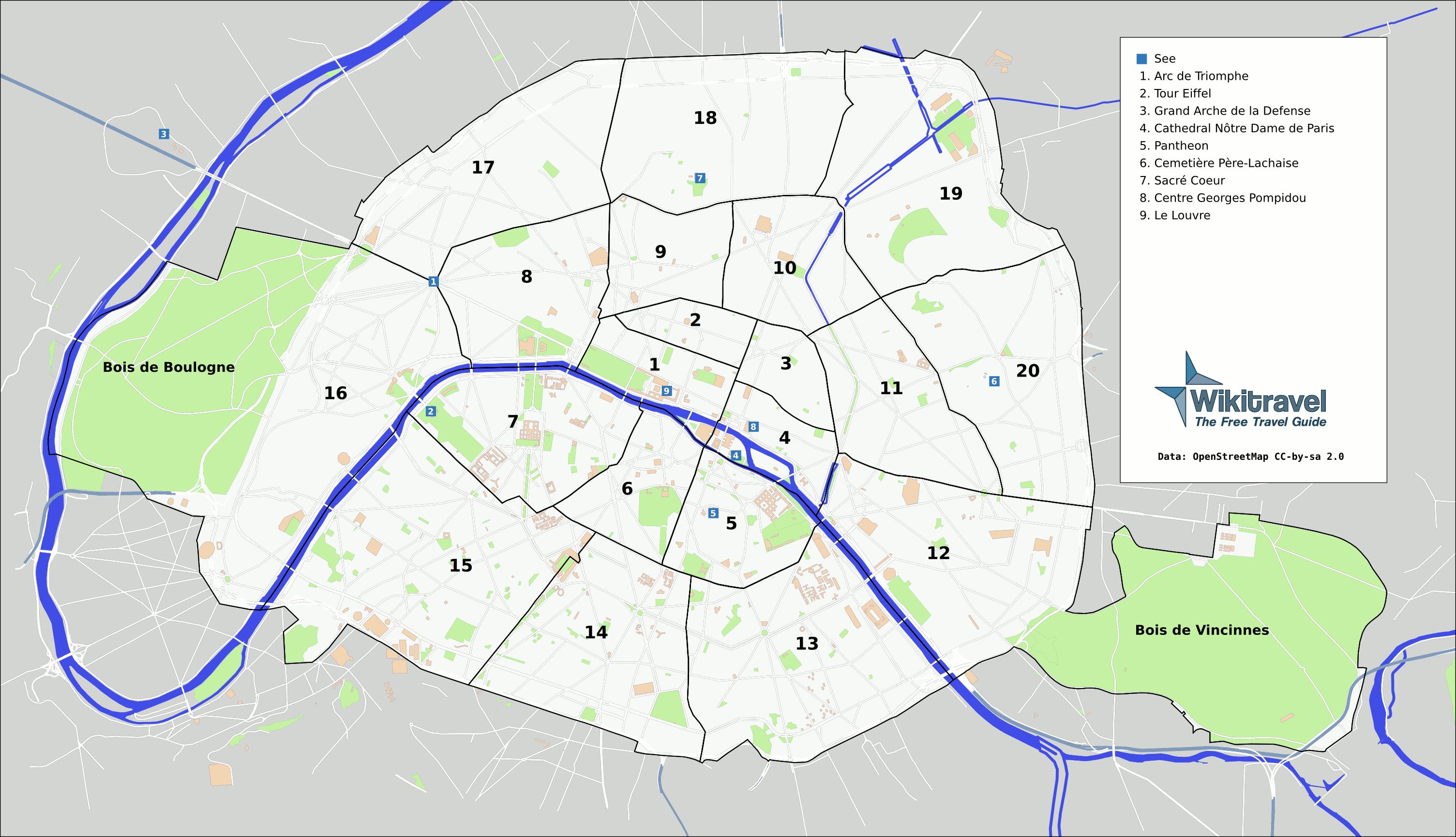 Karte Pariser Arrondissements creative Commons