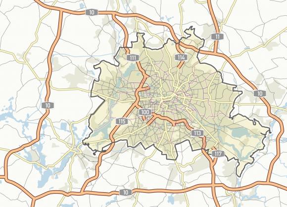 Karte übergeordnetes Straßennetz Berlin