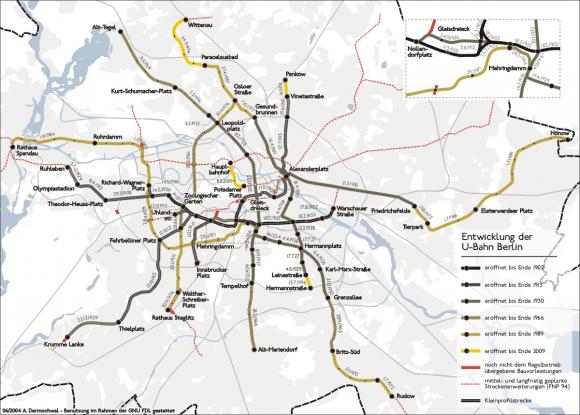 Entwicklung des Berliner U-Bahn-Netzes 1902 - 2009 BVG U55