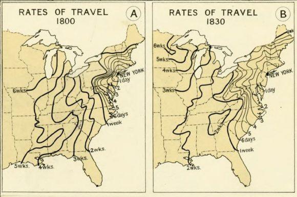 Reiseweiten USA 1800 1830 Postkutsche
