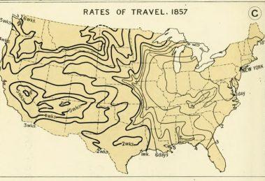 Reisezeiten Eisenbahn USA 1857 Entfernungen