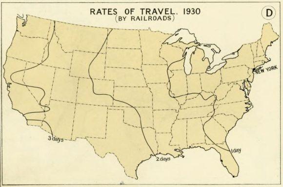 Reiseweite USA 1930 Eisenbahn Fahrzeit New York City