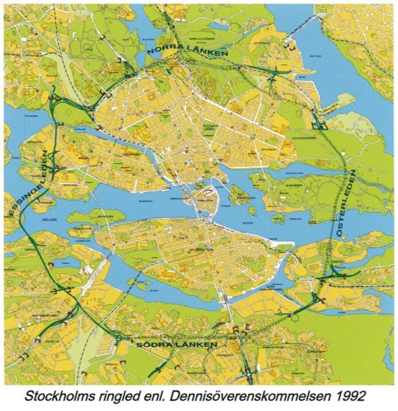 Vägverket Geplanter Autobahnring Stockholm Planungsstand 1992