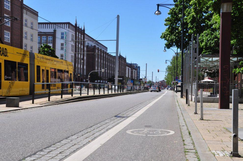 Radfahrstreifen in Rostock Radverkehrsinfrastruktur