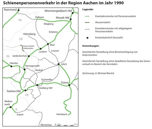 SPNV-Netz im Jahr 1990 in der Region Aachen