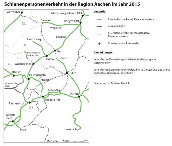 SPNV-Netz im Jahr 2015 in der Region Aachen