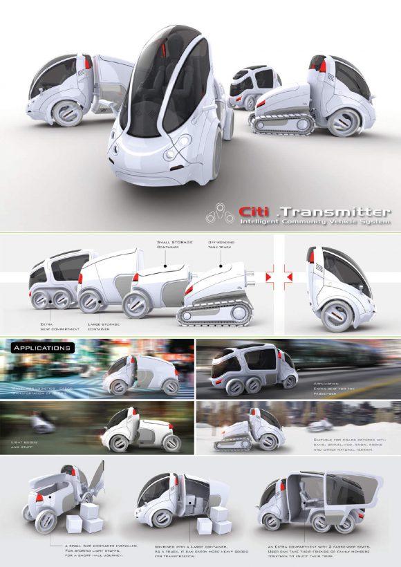 Citi Transmitter von Vincent Chan Fahrzeugkonzept Designstudie Modulares Konzept zur Personenbeförderung und zum Gütertransport