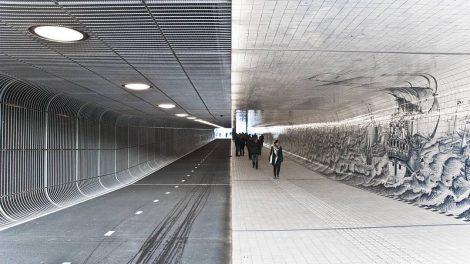 Cuyperspassage Tunnel für den Radverkehr und Fußverkehr unter dem Amsterdamer Hauptbahnhof als Langsamverkehrspassage