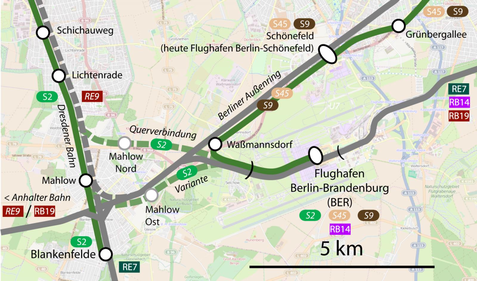 Anbindung des BER mit Querspange der S2 mit Zwischenhalt in Mahlow