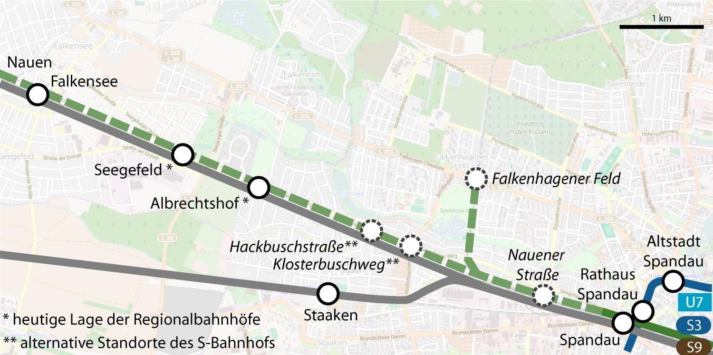 Ausbau S-Bahn Berlin Spandau Falkensee Potsdamer Platz