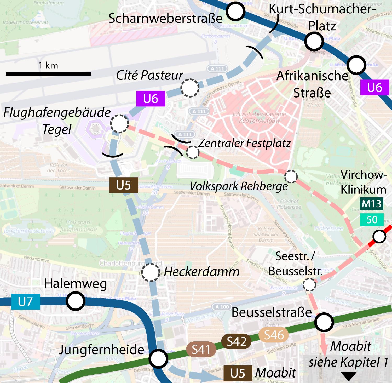 Schienenanbindung des Flughafens Tegel TXL ALternativen Optionen Stadtentwicklung U-Bahn S-Bahn