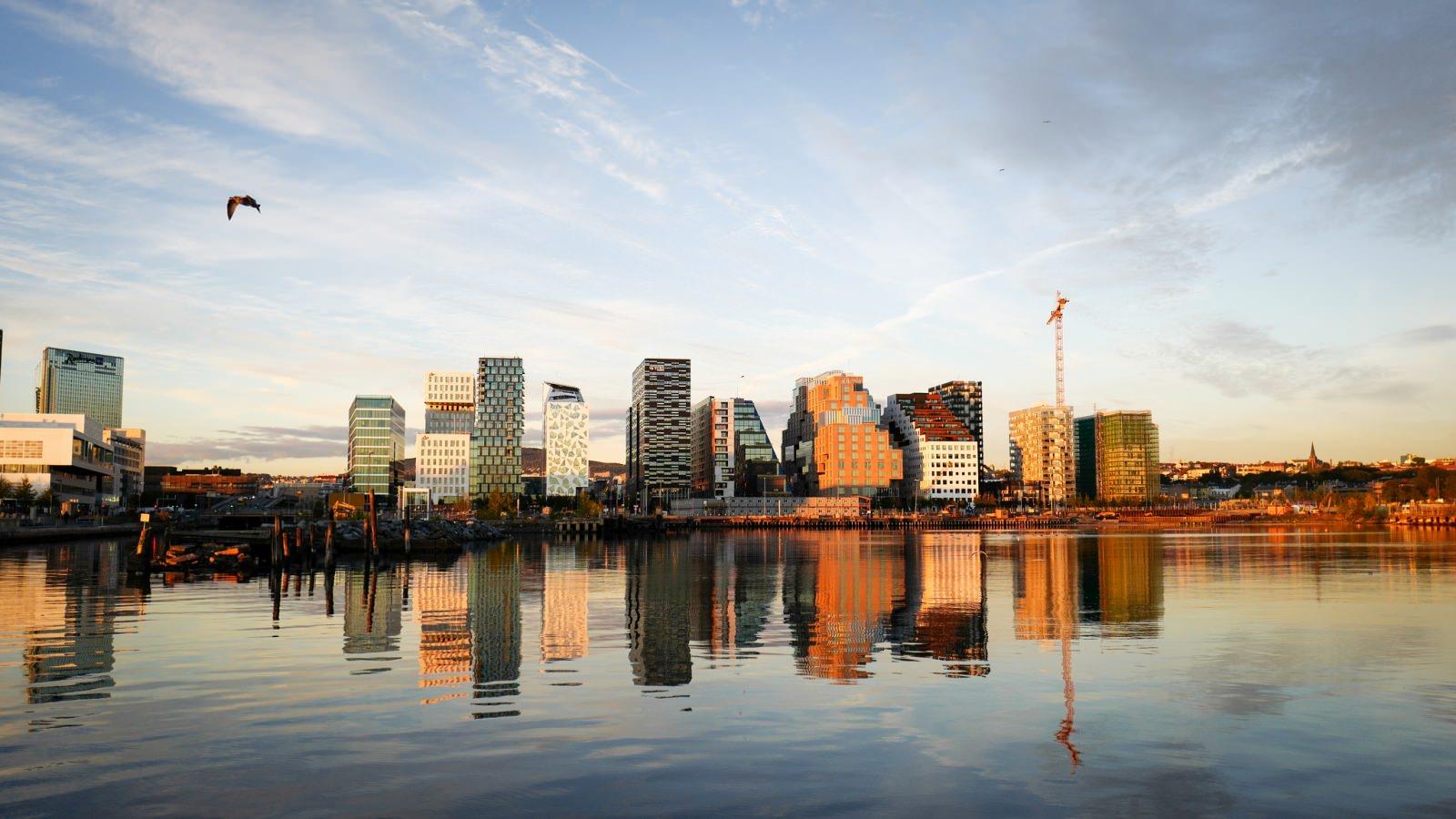 Oslo Skyline Hafen Stadtentwicklung Hafen Hochhäuser Umbau 2015