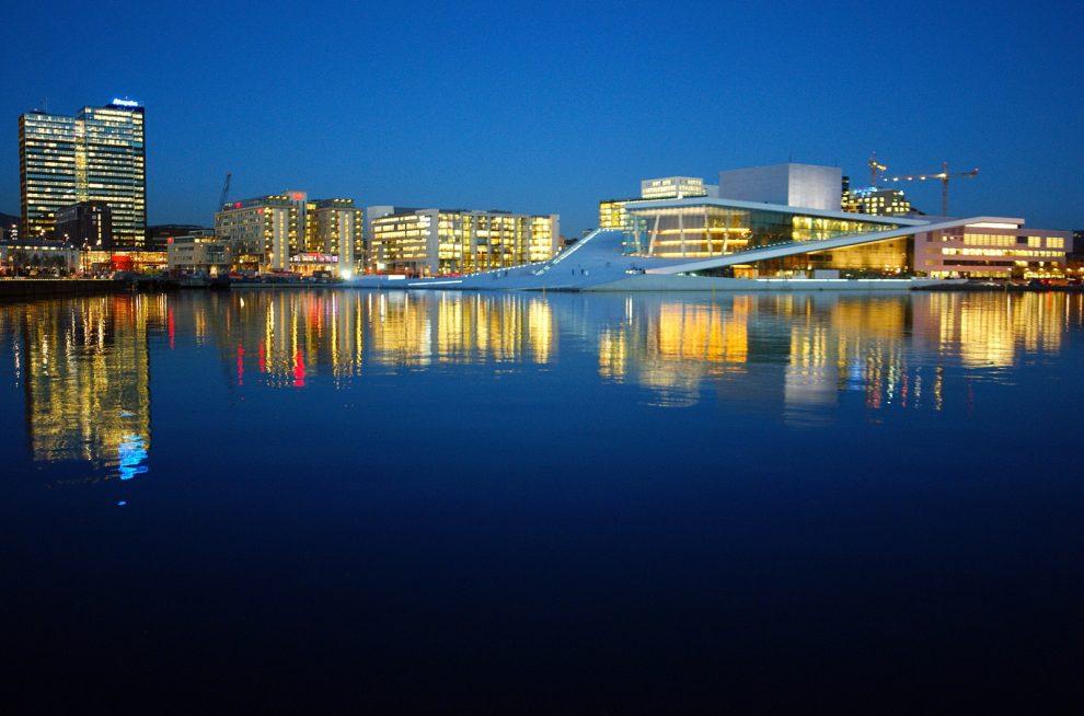 Ufer Oslo Norwegen Barcode Opernhaus Nacht