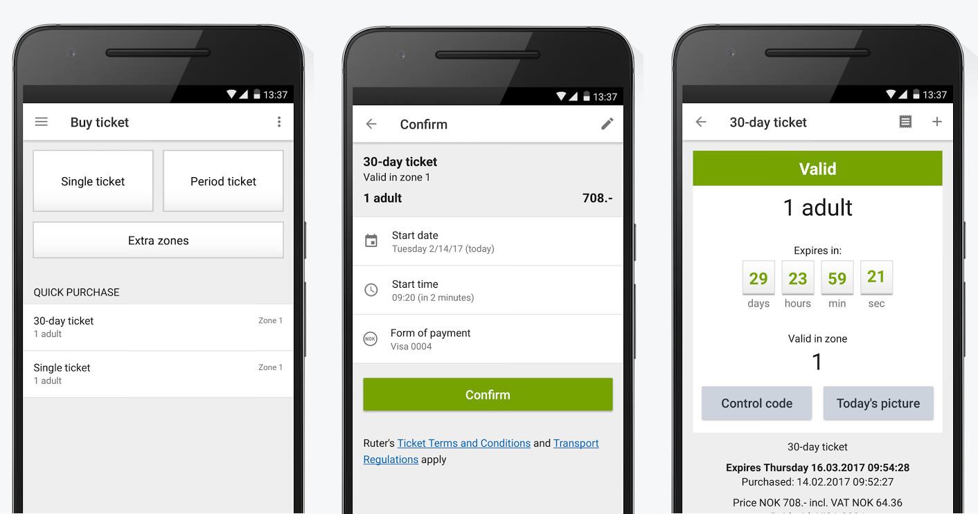 eticketing App Ruter Oslo RuterBillett Screenshot