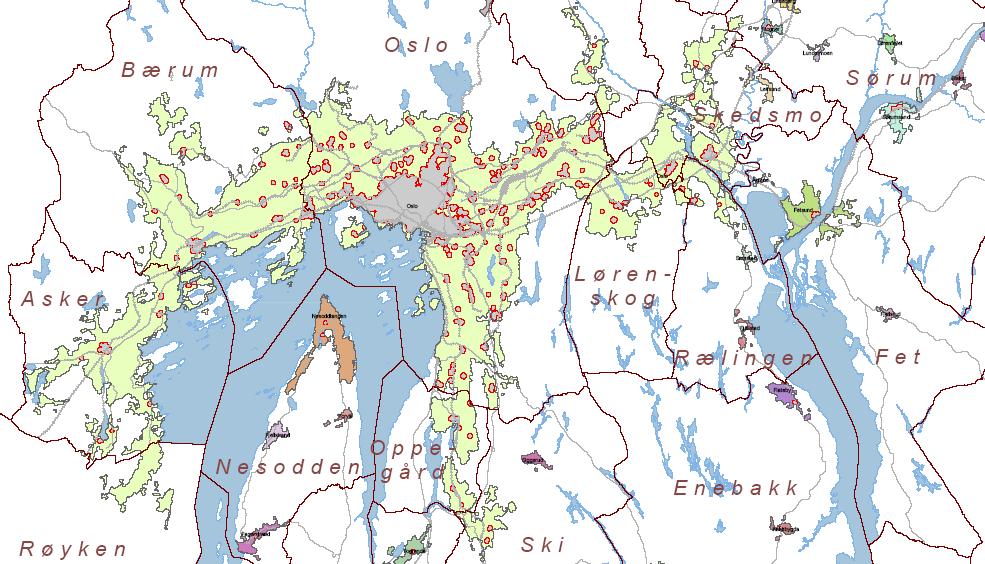 Siedlungsgebiet Oslo Wohnen Siedlungsfläche 2005 Norwegen Bebauung