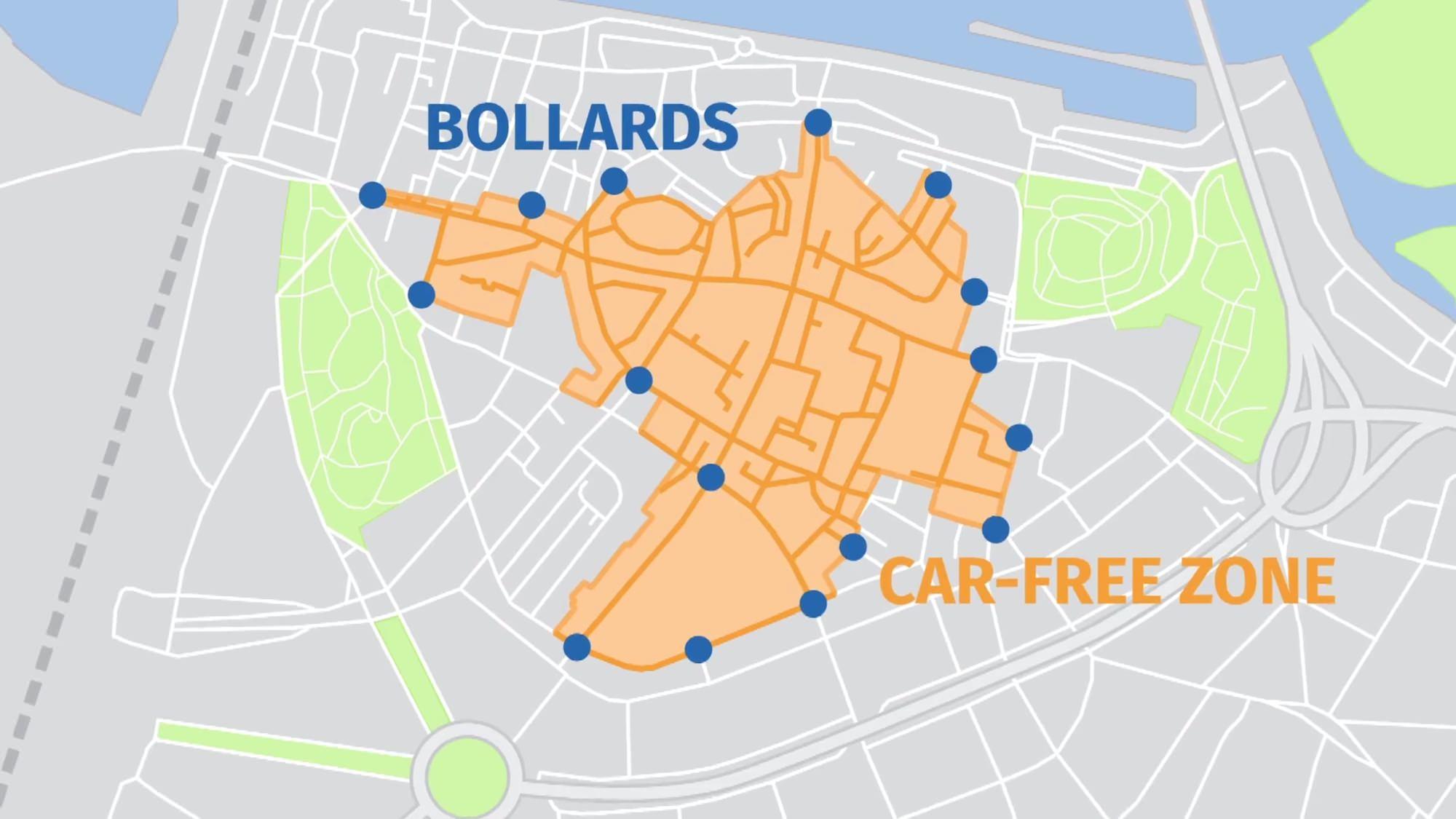 Nijmegen Nimwegen Fußgängerzone autofreier Bereich versenkbare Poller