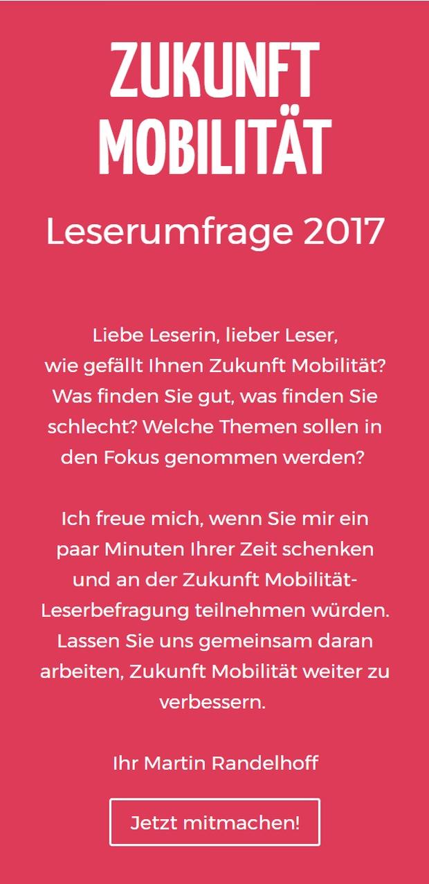 Leserbefragung 2017 Zukunft Mobilität ZM
