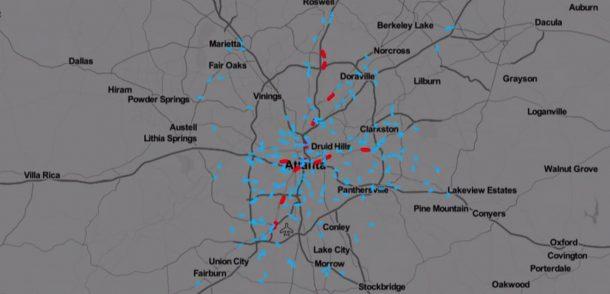 Atlanta ÖPNV-Angebot werktags morgens Visualisierung
