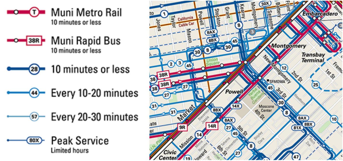 SFMTA Liniennetzplan mit Bedienhäufigkeit