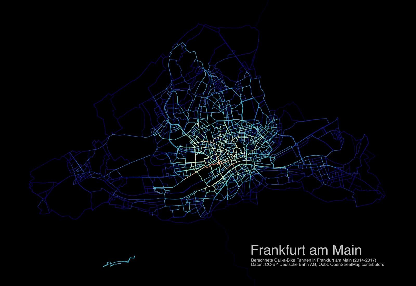 Call A Bike Ausleihvorgänge Frankfurt Visualisierung Bikesharing Routen 2014 2015 2016 2017