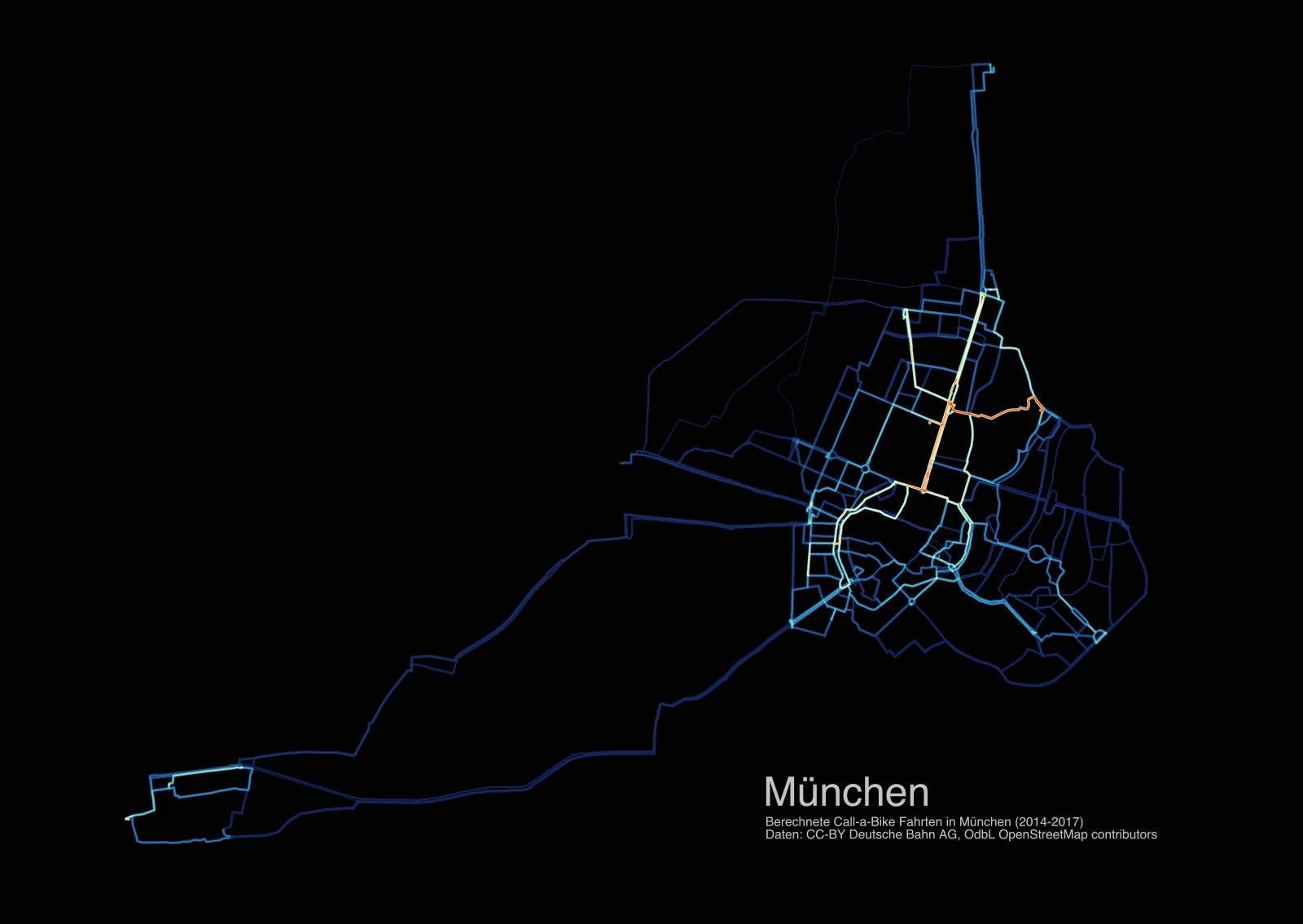 München Radverkehr Routen Bikesharing Call a Bike 2014 2015 2016 2017