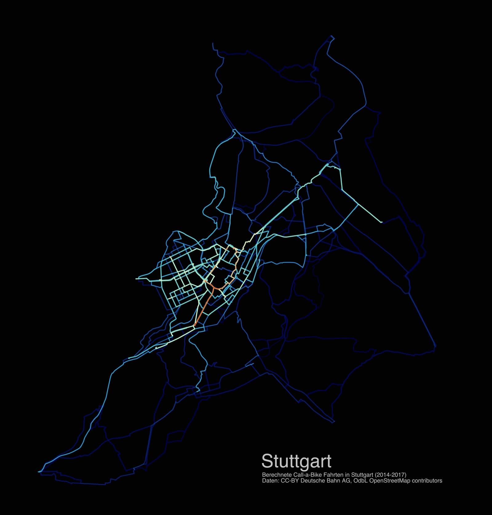 Stuttgart Radverkehr Routen Bikesharing Call a Bike 2014 2015 2016 2017