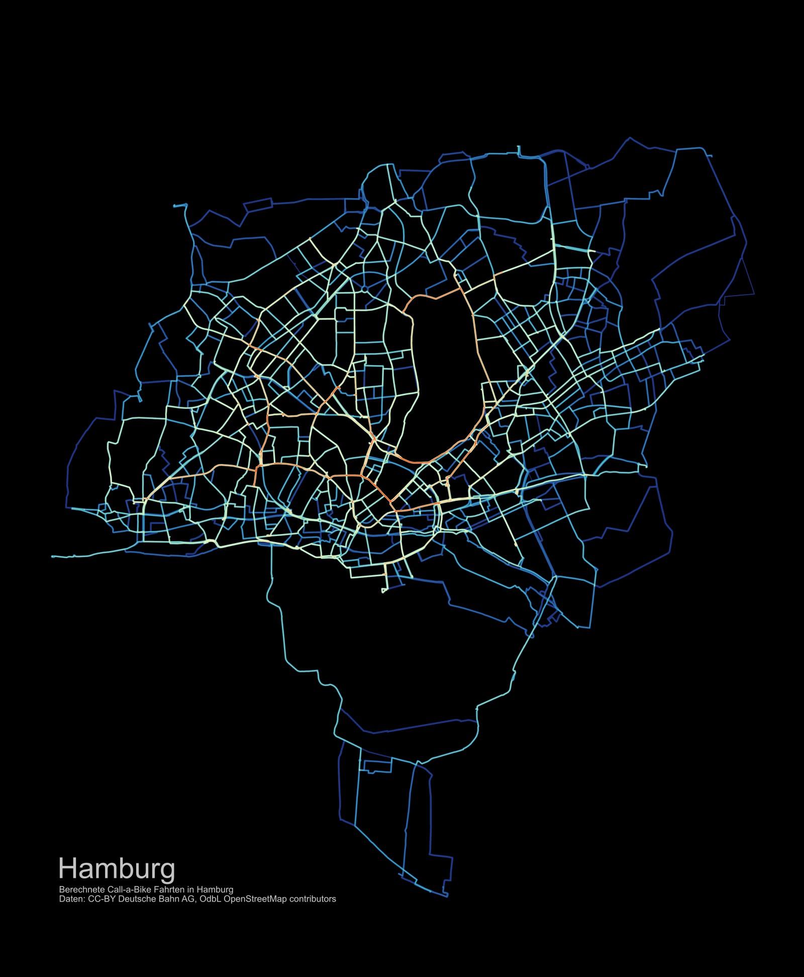 Stadtrad Call A Bike Ausleihvorgänge Hamburg Visualisierung Bikesharing Routen 2014 2015 2016 2017