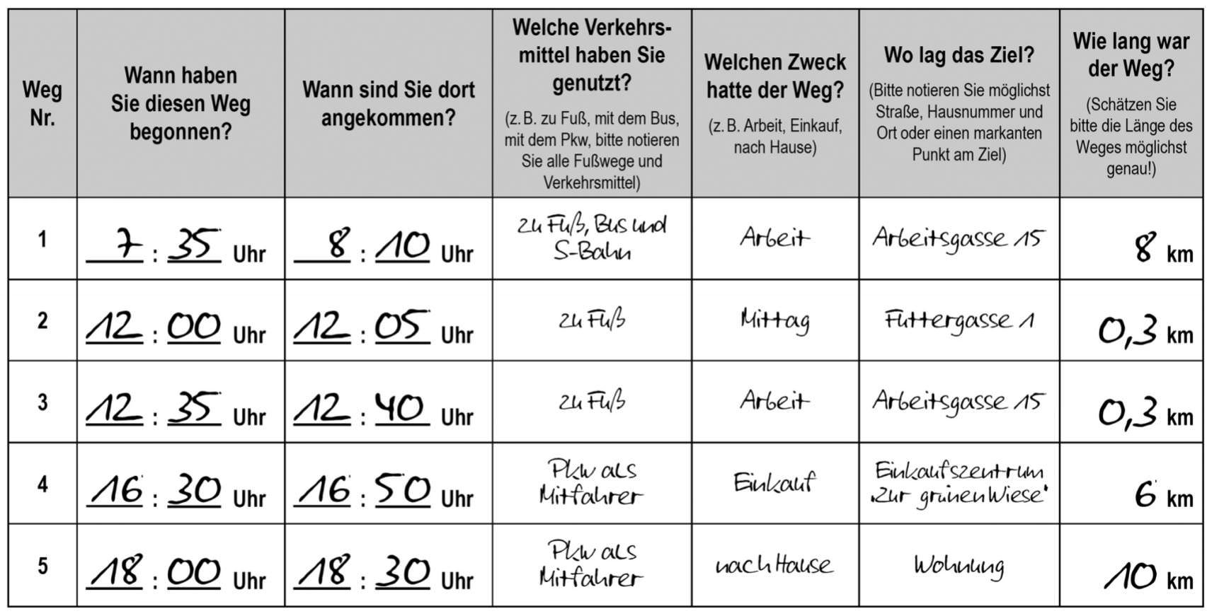 Wegetagebuch Wegeprotokoll SrV 2013 Methoden