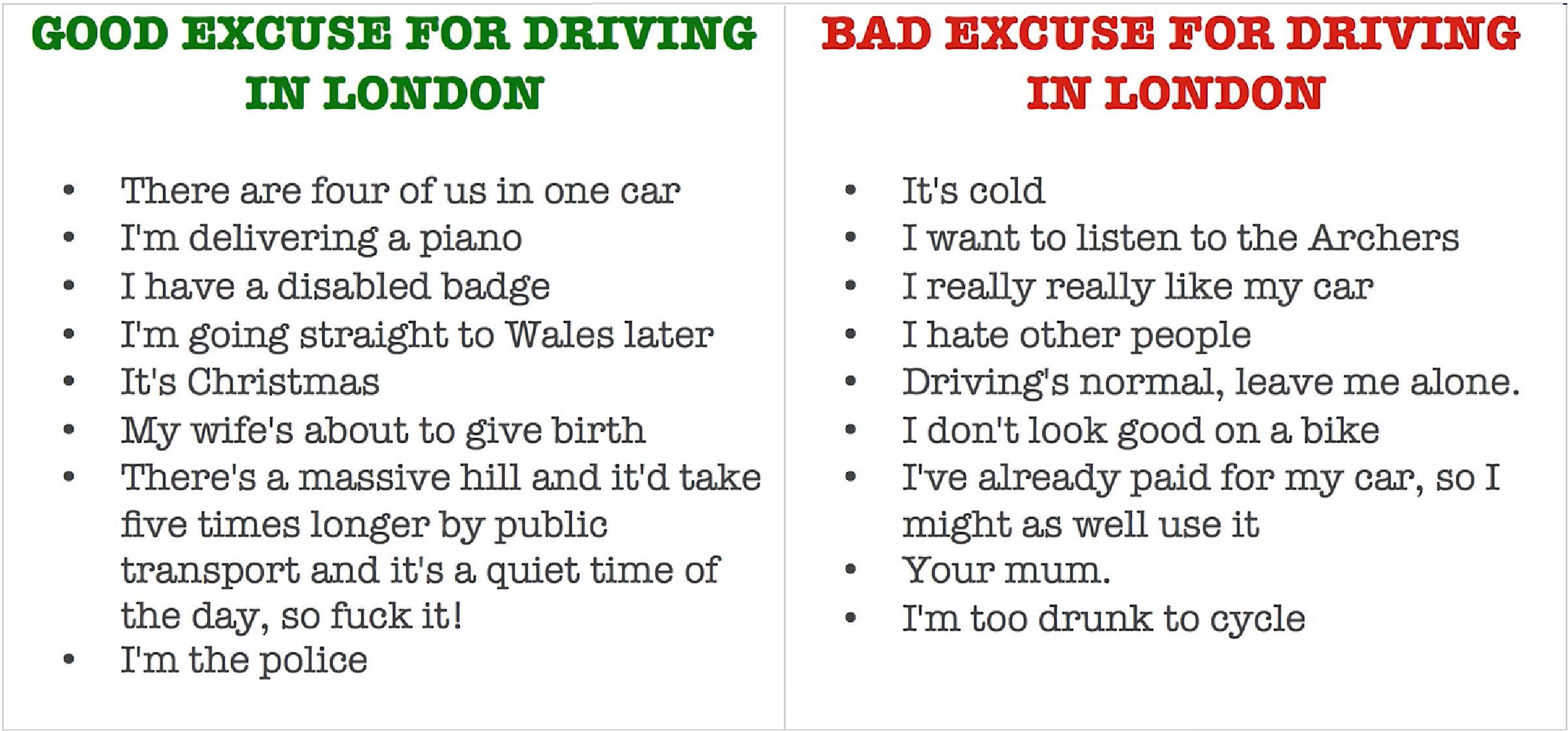 Gute und schlechte Gründe mit dem auto zu fahren