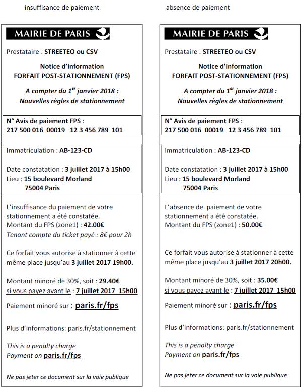 FPS Beleg Paris Nachzahlung Parkgebühren