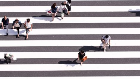 Urbane Mobilität Zenbrastreifen Menschen Fußverkehr