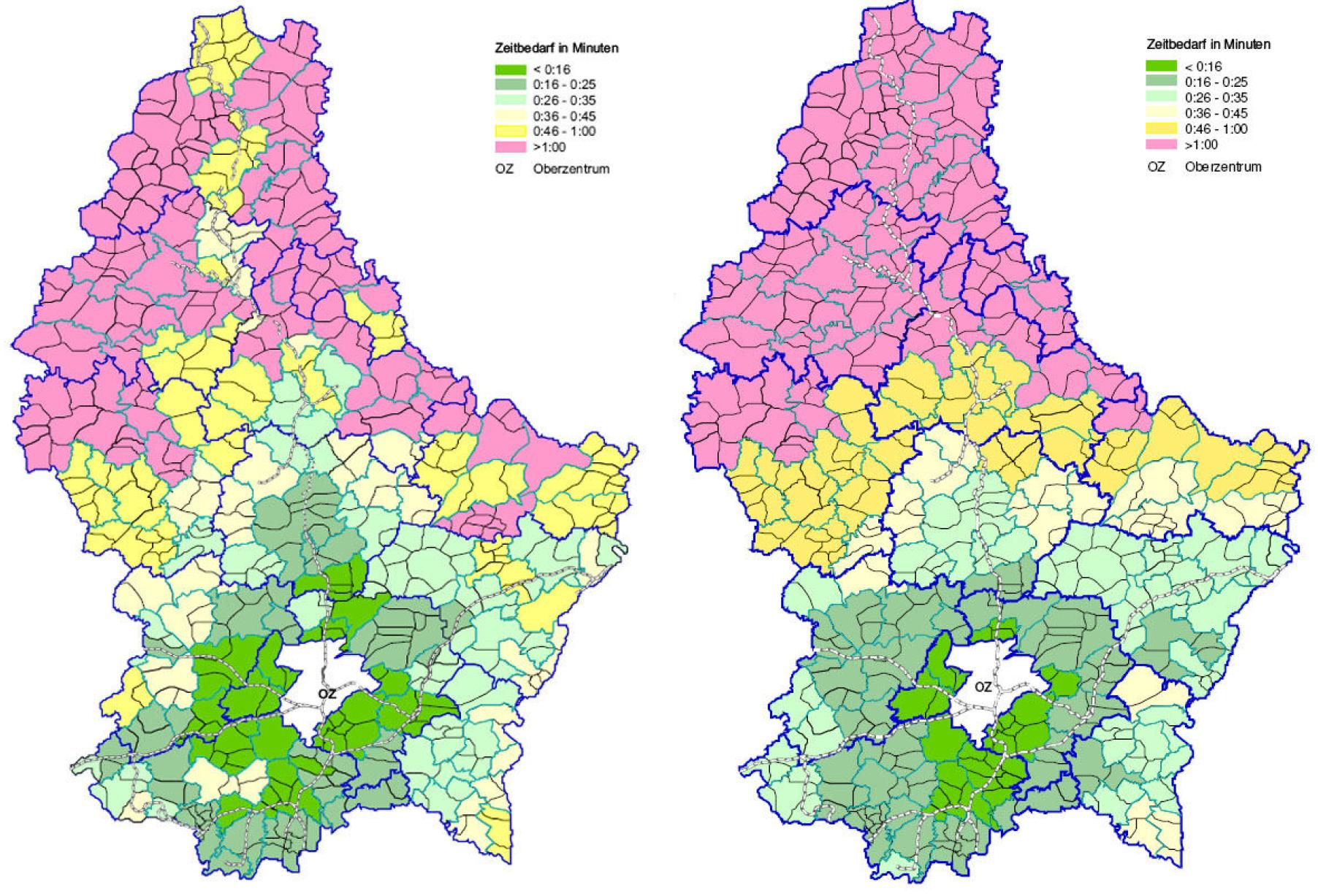 ÖPNV-Erreichbarkeit von Luxemburg Stadt 2004 Pkw-Erreichbarkeiten