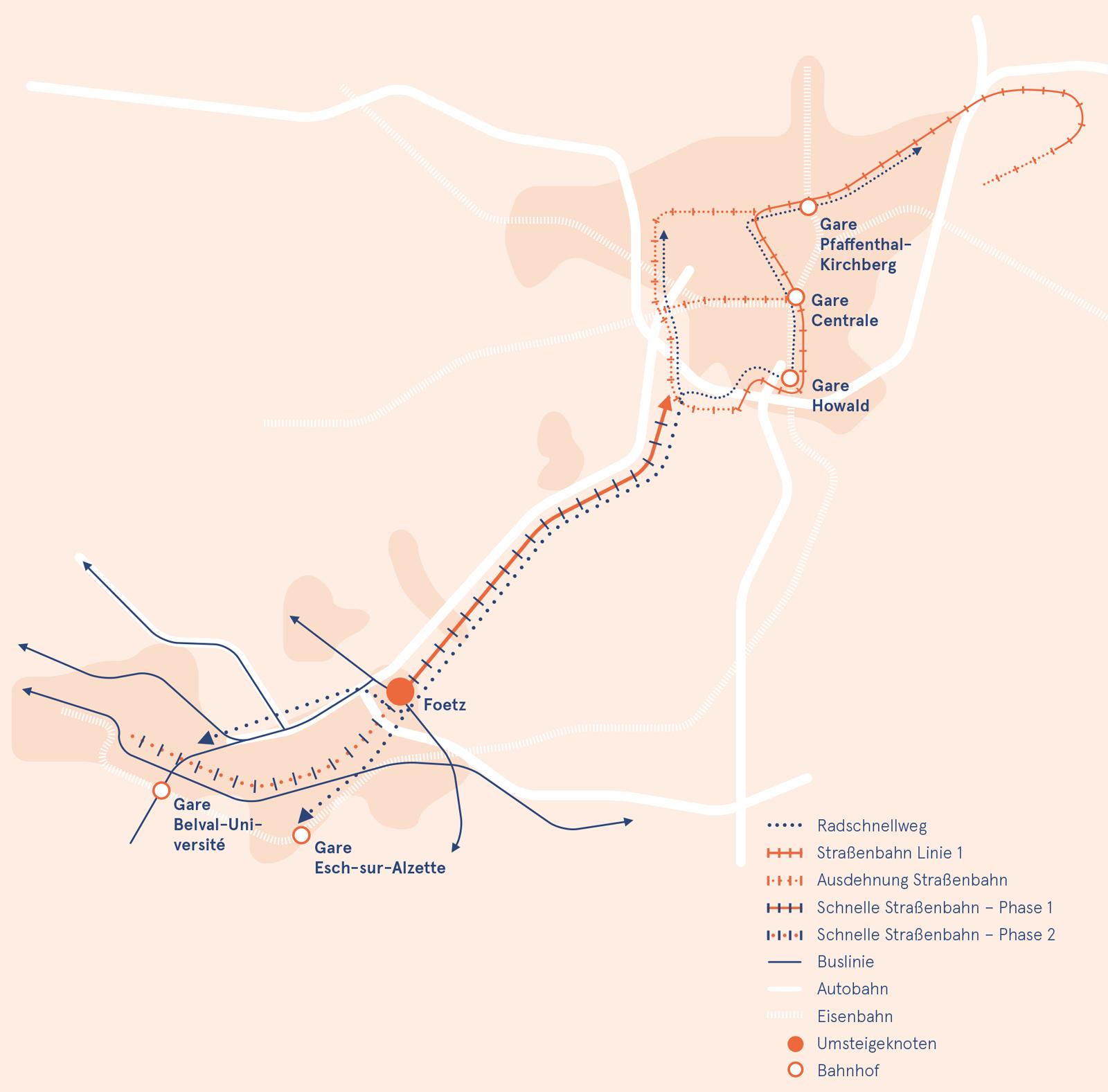 Schnelle Straßenbahn in Luxemburg Erweiterung Straßenbahnnetz