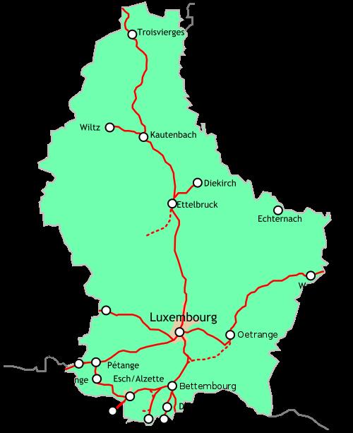 Schienennetz CFL Luxemburg Bahnnetz