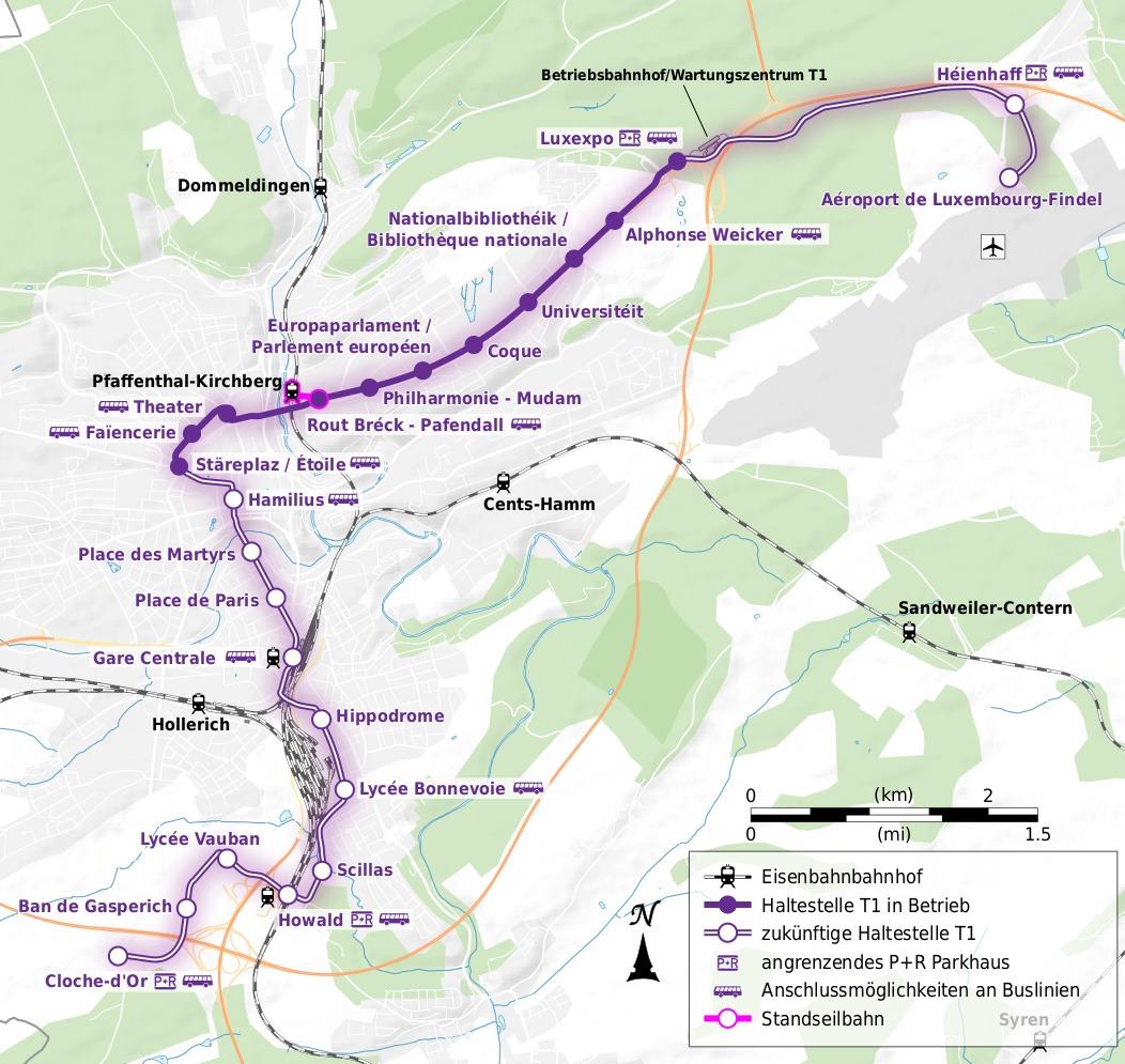 Netzplan mit Erweiterungen Luxtram Steter Tram Luxemburg T1